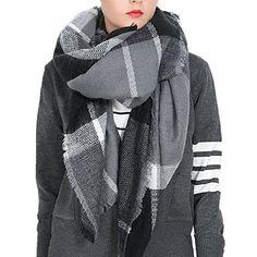 2bf2551880de7 Buy Afibi Women's Winter Oversized Cozy Plaid Checked Tartan Blanket Scarf  Wrap Shawl (Black&Grey): Shop top fashion brands Fashion Scarves at ...