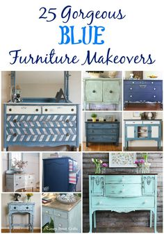 25 gorgeous blue furniture makeovers (with links to each project tutorial). Blue Furniture, Deco Furniture, Refurbished Furniture, Farmhouse Furniture, Paint Furniture, Repurposed Furniture, Furniture Projects, Furniture Plans, Furniture Makeover
