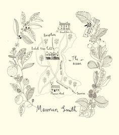 Wedding map. Wedding stationery designed + illustrated by Katt Frank