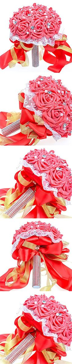 Anmor Bridal Bridesmaid Bouquet Wedding Decor White Crystal Lace Artificial Silk Roses Hand Flowers ARWF012(6 colors)