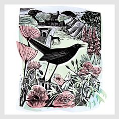 02. August Blackbird, Lino and Silkscreen, 25x30cm, Edition of 25