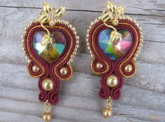 Bordeaux/ Gold hearts...soutache by RidgwaysSk on Etsy