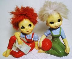 """THE GIRL IS IN GREEN OVERALLS MEASURES APPX. 4 1/4"""" HIGH AND 3"""" WIDE. THE BOY  IS IN THE RED OVERALLS AND IS 3 3/4"""" HIGH BY 4 1/2"""" WIDE."""