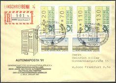 """Germany, ATM 06.01.1991, Bund, Automatenmarken, ATM-Zusammendruck (20+70+110+130 Pfg.) dazu 2 Berliner-ATM """"ohne Eindruck"""", die mit je 10 Pfg. gewertet werden, auf R-Brief von der Automaposta in Leverkusen, nach Frankfurt, interessant. Price Estimate (8/2016): 30 EUR."""