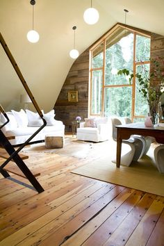 How beautiful would this be as a loft in a house?! With French doors instead