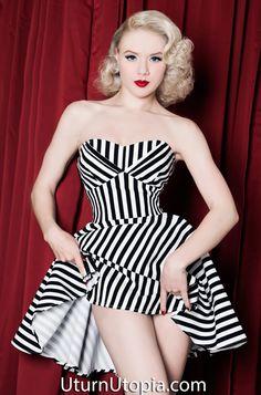 Black & Striped Halter Pin Up Dress /Rockabilly/Vintage Style
