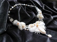 Necklace with pearl embroidery beads White by LoraViBeadJewelry