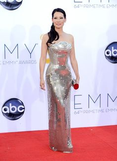 Lucy Liu arrives at the 64th Primetime Emmy Awards at the Nokia Theatre in Los Angeles on September 23, 2012.
