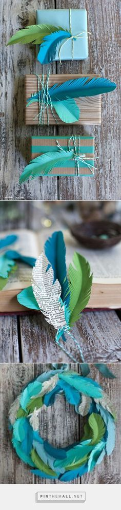 Christmas Gift Wrap - DIY Paper Feathers www.liagriffith.com