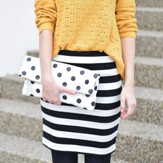 Read all of the posts by fresshion on fresshion Fashion Blogger Style, Fashion Bloggers, Yellow Sweater, My Outfit, Dots, Stripes, My Style, Skirts, Sweaters