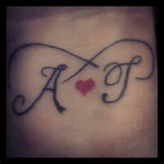 My tattoo. Mine TJ's initials with a heart and infinity symbol on the inside of my wrist Dad Tattoos, Couple Tattoos, Love Tattoos, Mom Daughter Tattoos, Tattoos For Daughters, Cross Tattoo Designs, Tattoo Designs And Meanings, J Letter Images, Infinite Love Tattoo