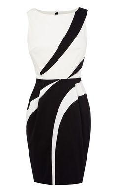Graphic applique shift dress - Karen Millen - #blackandwhite