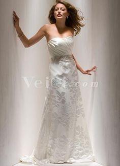 Unique Strapless Print Satin Bridal Dress