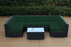 Sunbrella Forest Green with Black wicker | Ohana Deep Seating Set