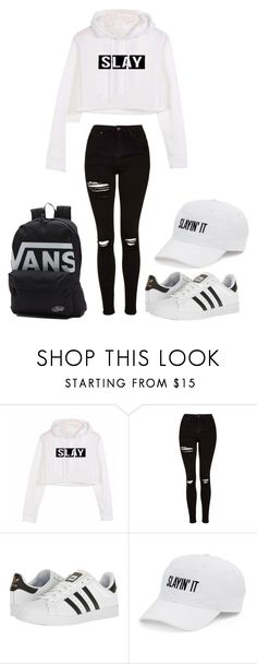 """""""-"""" by worstbiebehavior ❤ liked on Polyvore featuring Topshop, adidas, SO, Vans and slay"""