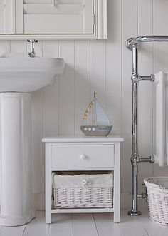 New Haven White Freestanding Bathroom Cabinet For Toiletries Storage