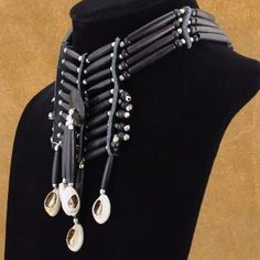 Black Apache style Bone Choker with silver beads and cowrie shells