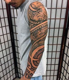 Mens Sleeve Tattoo Filipino Tribal Design