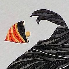Quilled Puffin Framed handcrafted original wall art   QuillingbySandraWhite - Children's on ArtFire