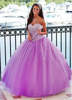 Chic Tulle & Diamond Tulle Sweetheart Neckline Floor-length Ball Gown Quinceanera Dress