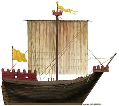 Medieval ships, from the north (Scandinavian naval construction) to the Mediterranean, Northern and Southern Europe and the Byzantines, Arabs and Indians. Wars Of The Roses, Early Middle Ages, Medieval Weapons, Naval History, Cogs, Fantasy Landscape, Tall Ships, Model Ships, 14th Century