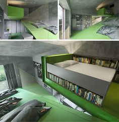 green-ramp house has all rooms built on an open and continuous slanted spiral (some of the utility areas like the kitchen and storage are flat-floored, but the majority of the floors are still ramps)