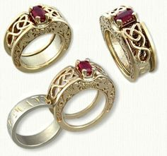 Two Rings in One!  Celt Dara Reverse Cradle with emerald cut ruby