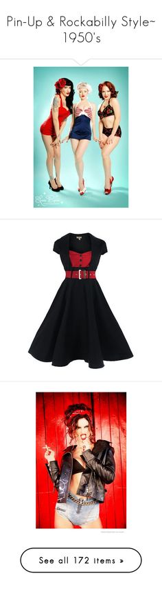 """""""Pin-Up & Rockabilly Style~ 1950's"""" by milluskah ❤ liked on Polyvore featuring 50s, pinup, rockabilly, dresses, pin up dresses, vintage day dress, rockabilly dresses, tent dresses, swing dress and alessandra ambrosio"""