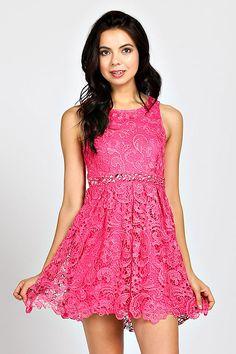 BOHO LACE OVERLAY EMBELLISHED WAISTLINE ACCENT DRESS-Hot Pink