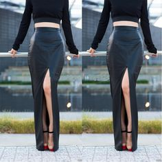 Faux Leather Asymmetrical Long Skirts 2014 New Fashion Lady Summer  Wetlook Split Long Skirt Women's Solid Color  Maxi Skirt - http://www.freshinstyle.com/products/faux-leather-asymmetrical-long-skirts-2014-new-fashion-lady-summer-wetlook-split-long-skirt-womens-solid-color-maxi-skirt/