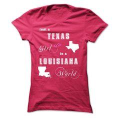 Texas Girl in a Louisiana World T-Shirts, Hoodies. SHOPPING NOW ==► https://www.sunfrog.com/States/Texas-Girl-in-a-Louisiana-World-possw-ladies.html?id=41382