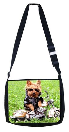 motorcycle dog Rosie Parker Inc. TM Medium Sized Laptop Messenger Bag 11.75' x 15.5' -- Click on the image for additional details. (This is an Amazon Affiliate link and I receive a commission for the sales)