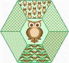 Wise Owl - cross stitch pattern designed by Susan Saltzgiver. Category: Quilts.