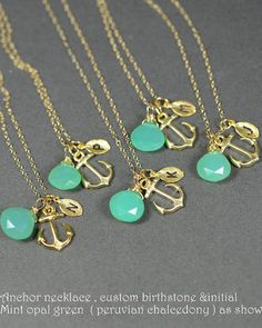 Gold anchor  mint opal green Bridesmaid Wedding by thefabwedding2, $35.99