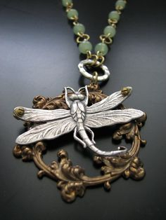 Steampunk Dragonfly Captured on Art Nouveau Vintage by prodigirl, $35.00