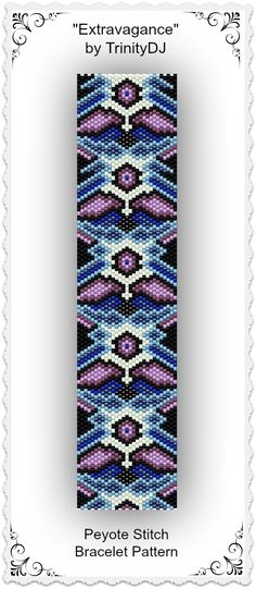"New listing in my Etsy shop: ""Extravagance"" - Odd Count Peyote Stitch Bracelet Pattern - One of A Kind In The Raw Design. Please follow this link for more info: https://www.etsy.com/listing/170117079/bp-pey-018-extravagance-odd-count-peyote?ref=listing-shop-header-0"