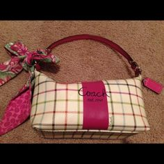 """Coach purse Coach purse. Some wear but nothing major. Please see pictures of the wear. Authentic Coach but no creed patch as it is a smaller Coach purse. Approximately 4"""" height, 8"""" width and 4"""" bottom. Very cute. Coach Bags"""
