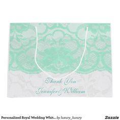 Personalized Royal Wedding White Mint Lace Large Gift Bag