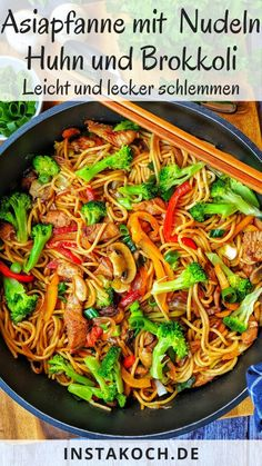 Asian pan with noodles chicken and broccoli-Asiapfanne mit Nudeln Huhn und Brokkoli This Asian pan with pasta, chicken and broccoli is delicious, healthy and instantly homemade. Easy Healthy Recipes, Quick Easy Meals, Crockpot Recipes, Healthy Snacks, Vegetarian Recipes, Chicken Recipes, Healthy Chicken, Broccoli Recipes, Recipe Chicken