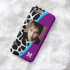 Add your picture and monogram initial to this modern purple and blue animal pattern slim #iPhone6case with a trendy black and white giraffe print.