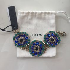 PRICE DROPPED!  J. Crew Statement Bracelet Gorgeous J. Crew statement bracelet, perfect colors for the summer. Never worn, tags still on. Comes with dust bag. J. Crew Jewelry Bracelets