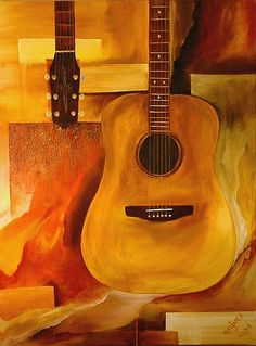 The Guitar by Jerry Melinka Guitar Drawing, Guitar Painting, Guitar Art, Jazz Art, Beatles Songs, Acrylic Art, Art Music, Painting Inspiration, Art Drawings