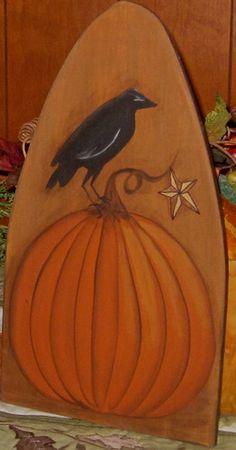 Primitive HP Folk Art Pumpkin Crow Star Fall Stretcher   eBay