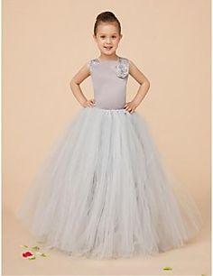 Flower Girl Dress Floor-length Satin/Tulle Ball Gown Sleevel... – USD $ 33.24