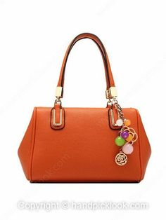 Orange Pendant Embellished PU Leather Handbag -$34.29