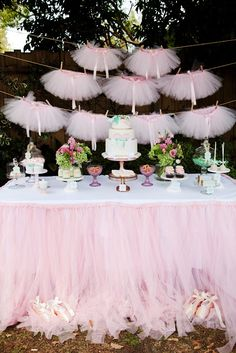 Vintages ballerinas tutus | Ballerina Pink Tutu Party, pink, tutu, tulle, dessert table, mint