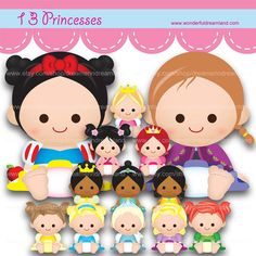 13 Princess Baby - Eps Pdf Png Svg Vector Instant Download Printable Cliparts Clip Arts Digital File