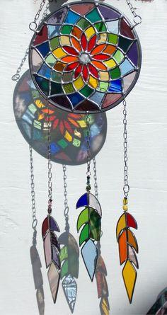 "Stained Glass 'Rainbow Mandala Dream Catcher',Sun Catcher,Window or Wall Art,Wedding,Birthday Gift,Mixed Glass,Tribal Indian,24"" long,OOAK"