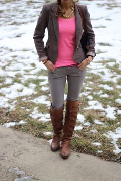 blazer, t-shirt, skinny jeans Lillys Style: neon pink