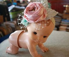 can we talk about this creepy doll that this headband is displayed upon! How to Make Fabric and Feather Flower Elastic Lace Headbands Fabric Flower Headbands, Diy Baby Headbands, Vintage Headbands, Diy Headband, Elastic Headbands, Baby Headband Tutorial, Baby Hair Bands, Material Flowers, Fabric Flower Tutorial